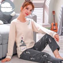 Winter Sleep Lounge Pajama Long Sleeve Top + Long Pant Woman Pajama Set Cartoon Pyjamas Cotton Sleepwear Women M L XL XXL XXXL