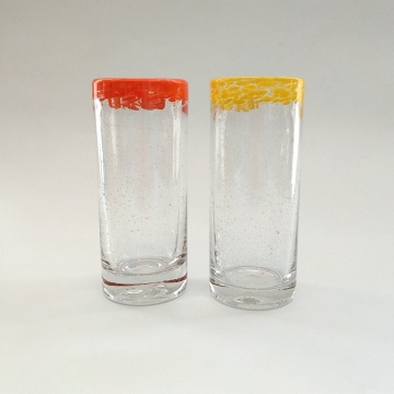 colorful edge high ball glass cup for juice