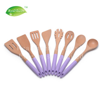 Color Silicone Handle Wooden Kitchen Utensils Set