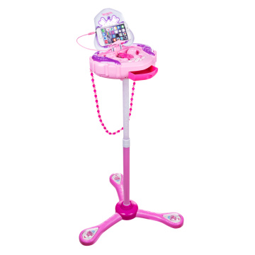 iTECHOR Kids Multifunctional Karaoke Machine Stand Up Mic Toy with 2 Microphones and Adjustable Stand Karaoke Players- Pink