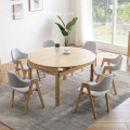Extendable Light Rubber Wood Round Table for 6