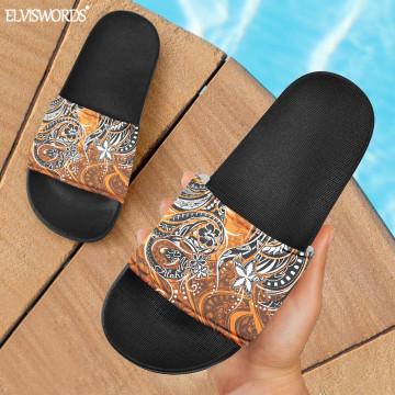 ELVISWORDS Hawaiian Sunset Orange ALOHA Print Men Women Summer Slide Sandals Durable Rubber Slio On Unisex Casual Home Slippers
