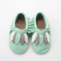 Green Newborn Baby Casual Moccasins With Fashion Leaf