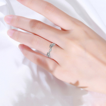 Newly Fresh Sweet Leaf Adjustable Ring Female Light Luxury Olive Branch Finger Ring DO99
