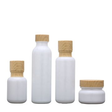 White Glass Bottles Jars With Wood Grain Cap