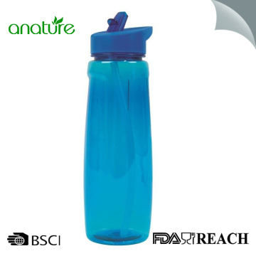 Reusable Tritan Plastic Bottle With Flip Straw Top
