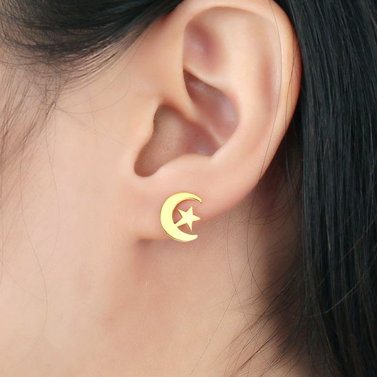 Gold crescent moon and star stud earrings
