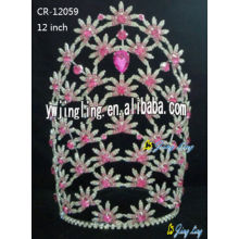 Flower rhinestone crown for sale CR-12059