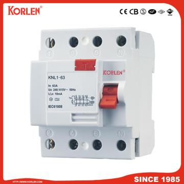Residual Current Circuit Breaker KNL1-63 63A CE 4P