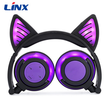 Holiday gifts children cat ear headphone with LED
