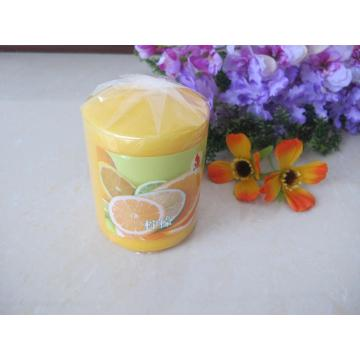 Scented Orange Colour Pillar Candle