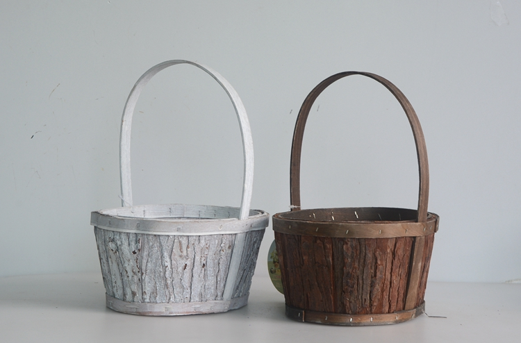 Oval wood bark handicrafted flower basket-1