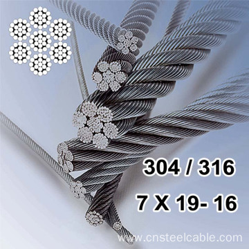 7X19 Dia.16mm Stainless steel wire rope