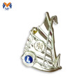 Custom sailboat lion pin badge with gold plating