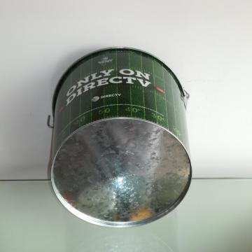 Round Metal tin bucket in home