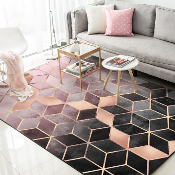 Black Rose Gold Living Room Carpet Nordic Home Decoration Modern Bedroom Rugs Anti Slip Gradient Geometric Lounge Mats 160X230