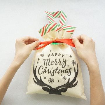 Small Christmas Black Deer Drawstring Gift Bag