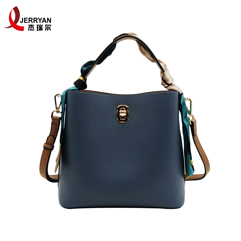 blue leather bucket bag