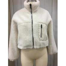 Off White Shearling Zip Up Jacket