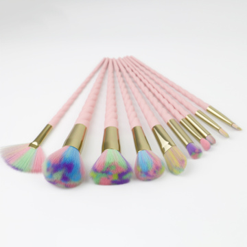 Colorful nylon hair plastic makeup brushes