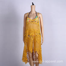 Yellow sleeveless beach dress summer wraps sexy beachwear
