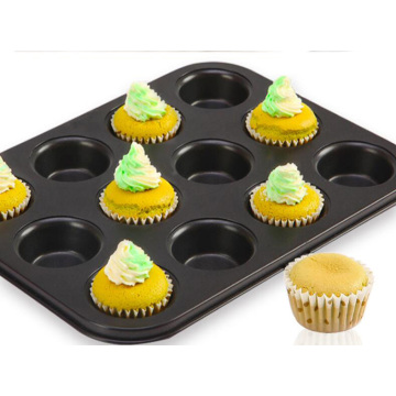 12-Cavity Carbon Steel Non Stick Muffin Pan-Black