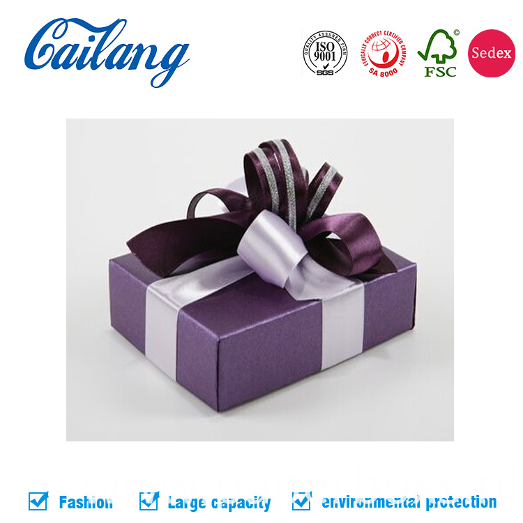 two pieces gift paper box with ribbon tie