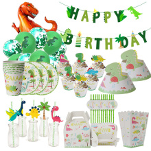 Dino Party Supplies Dinosaur Balloons Paper Straws Disposable Tableware Set Kids Boy Birthday Party Decoration Jungle Party