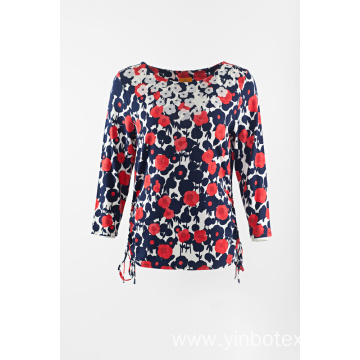 printed ladies knit T-shirt with 3/4 sleeve
