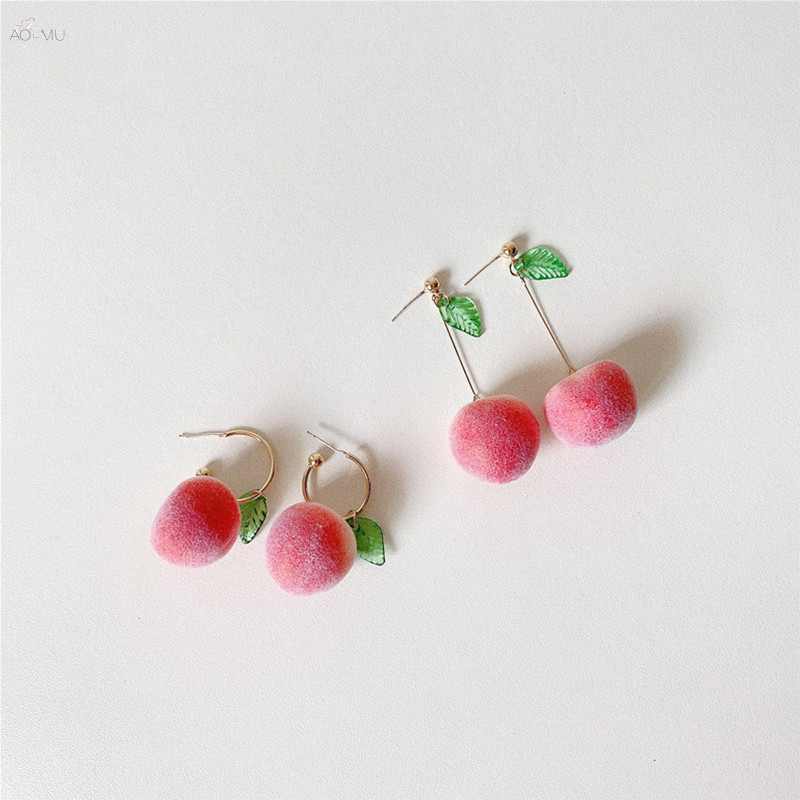 AOMU 1Pair 2020 Fashion Flocking Peach Earrings for Women Cute Fruit Earring Party Wedding Jewelry Gifts