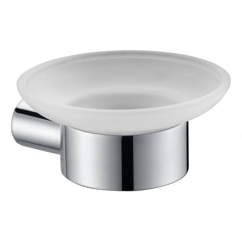 Round Soap Dish Holder With Glass StainlessSteel Polished