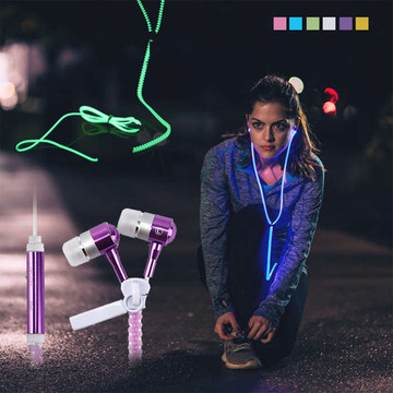Portable Luminous Metal Earphone Glow In The Dark