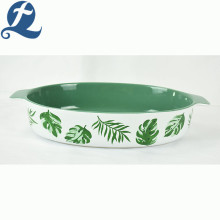 Hot sale popular fashion style decal container ceramic oval baking tray