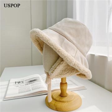 USPOP New Winter hats Suede lamb wool thickened warm ear protection bucket hat Cute Panama Hats