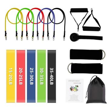 (SHIP NOW) 16 Pcs Resistance Bands Set Exercise Bands 5 Fitness Workout Tubes with 5 Resistance Loop Bands