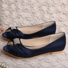 Wedopus Flat Bridal Party Shoes Navy Satin