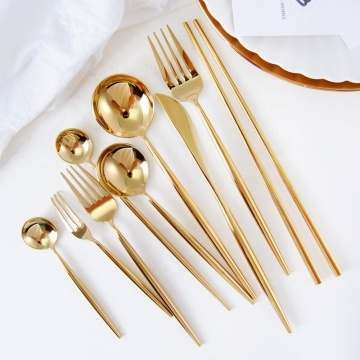 In stock stainless steel shiny gold cutlery
