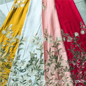 Rayon Satin Plain Dyed With Spangle Embroidery