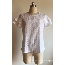 Short Sleeve with Lace Cotton Voile Embroidery Blouse