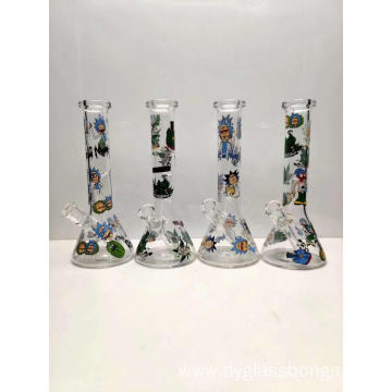 Glass Smoking Beaker Bongs with Cartoon