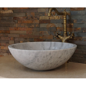 Guangxi round white marble vessel sink