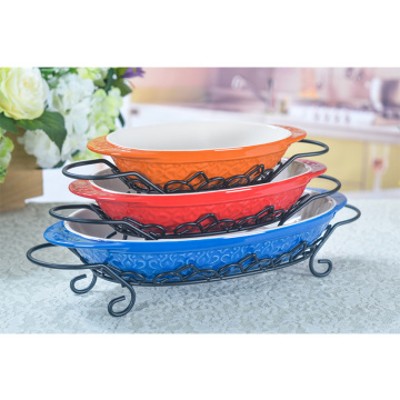 Hot Sale  Glaze Pie Ceramic Baking Pans Set With Rack