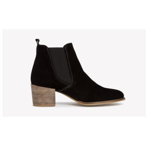 Ankle chunky heel black nubuck leather boots