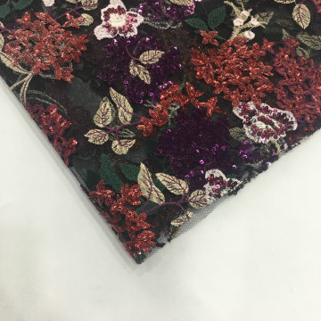 Garment Double Border Multicolor Sequin Embroidery Fabric