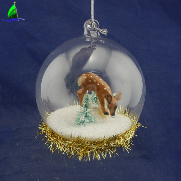 Christmas ball glass ornament deer figurines