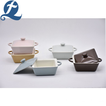 Custom Ceramic Square Soup Pot Set with Lid
