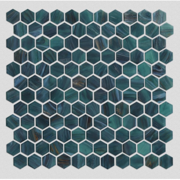 Hexagonal glass mosaic for bathroom decoration