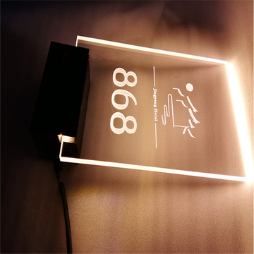 LED Illuminated Acrylic Hotel Room Numbers