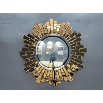 Gold Mirror Wall Clock