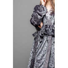 Grey koren fleece short robe and pajama set
